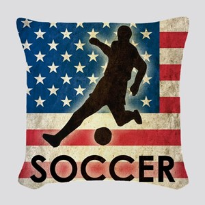 Grunge USA Soccer Woven Throw Pillow