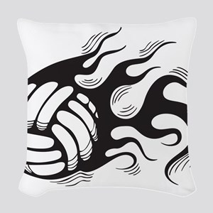 Flaming Volleyball Woven Throw Pillow