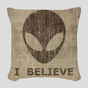Vintage Alien (I Believe) Woven Throw Pillow