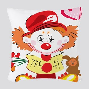 Love Clown Woven Throw Pillow