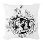 Devil Illustration Woven Throw Pillow