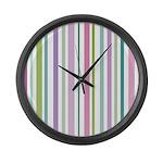 Pink & Green Stripes Large Wall Clock