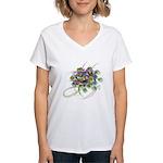 Atom Flowers #28 Women's V-Neck T-Shirt
