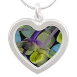 Atom Flowers #31 Silver Heart Necklace
