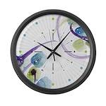 Atom Flowers #31 Large Wall Clock