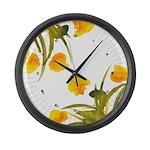 Atom Flowers #34 Large Wall Clock