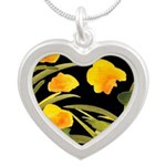 Atom Flowers #34 Silver Heart Necklace