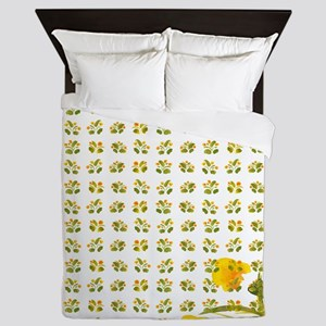 Atom Flowers #34 Queen Duvet