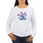 Purple and Fuschia Atom Flowers #34 Long Sleeve T-
