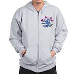 Purple and Fuschia Atom Flowers #34 Zip Hoody