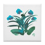Turquoise and Green Atom Flowers #34 Tile Coaster