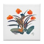 Red and Grey Atom Flowers #34 Tile Coaster