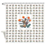 Red and Grey Atom Flowers 34 Shower Curtain