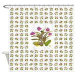 Lilac and Green Atom Flowers #34 Shower Curtain