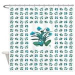 Turquoise and Green Atom Flowers 34 Shower Curtain