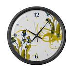 Atom Flowers #3 Large Wall Clock