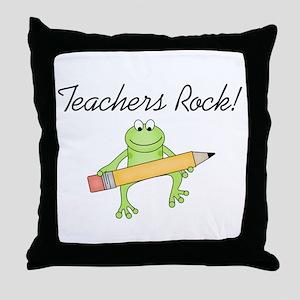 Frog Teachers Rock Throw Pillow