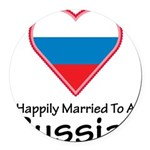 Happily Married Russian Round Car Magnet