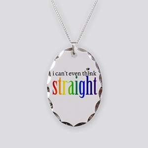 i can't even think straight Necklace Oval Charm