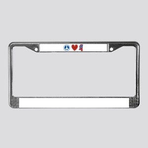 Peace Love Mississippi License Plate Frame