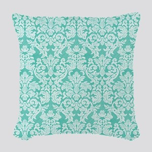 lace pattern - teal Woven Throw Pillow