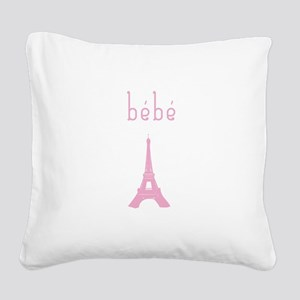 Bebe Girl Eiffel Tower Square Canvas Pillow