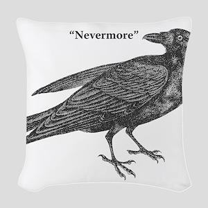 Nevermore Raven Woven Throw Pillow