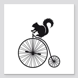 """squirrel on vintage bicycle Square Car Magnet 3"""" x"""