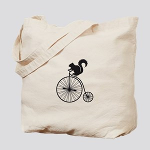 squirrel on vintage bicycle Tote Bag