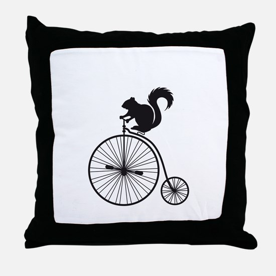 squirrel on vintage bicycle Throw Pillow