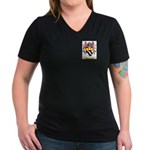 Clemengon Women's V-Neck Dark T-Shirt