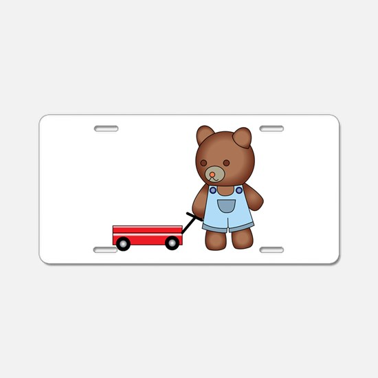 Boy Teddy Bear Aluminum License Plate