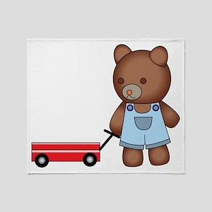 Boy Teddy Bear Throw Blanket