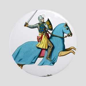 Armored Knight on Cloaked Horse Ornament (Round)