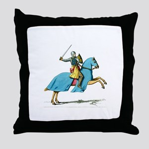 Armored Knight on Cloaked Horse Throw Pillow