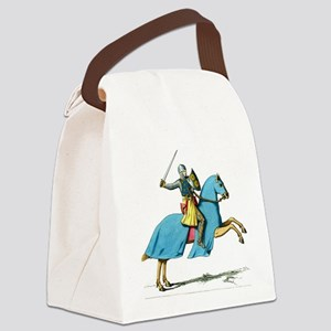 Armored Knight on Cloaked Horse Canvas Lunch Bag