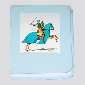 Armored Knight on Cloaked Horse baby blanket