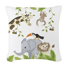 Jungle Animal Twin Duvet Woven Throw Pillow