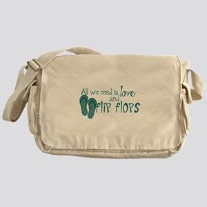 All We Need Is Love and Flip Flops Messenger Bag