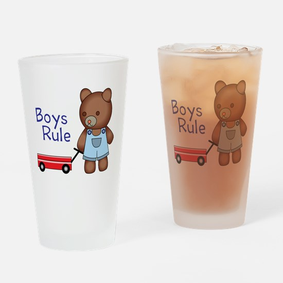 Boys Rule Bear Drinking Glass
