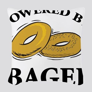 Powered By Bagel Woven Throw Pillow