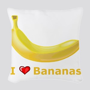 I Love Banana Woven Throw Pillow