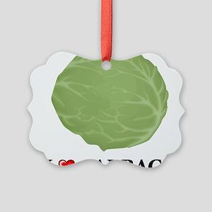 I Love Cabbage Picture Ornament