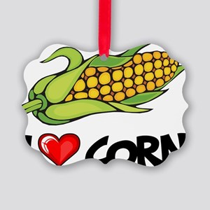 I Love Corn Picture Ornament