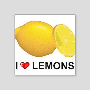 "I Love Lemons Square Sticker 3"" x 3"""