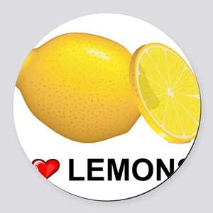 I Love Lemons Round Car Magnet