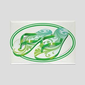 Beach Flop-Flops Gotcha Green Rectangle Magnet