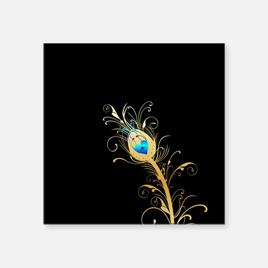 Elegant Black and Gold Peacock Feather Sticker