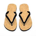 Tan Parchment Look Flip Flops