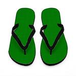 Green Satin Look Flip Flops